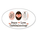 Peace Love Ophthalmology Oval Sticker (50 pk)