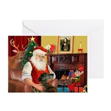 Santa's Greyhound(brin) Greeting Cards (Pk of 20)