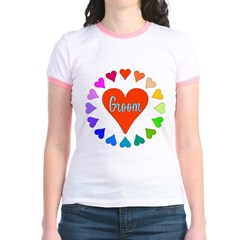 Rainbow Hearts Groom Jr. Ringer T-Shirt