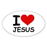 I LOVE JESUS Oval Decal