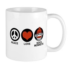 Peace Love Sock Monkeys Mug