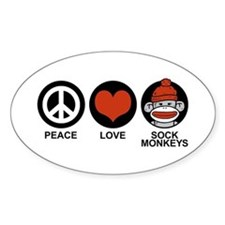 Peace Love Sock Monkeys Oval Decal