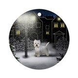 WESTIE DOG SNOW CITY Keepsake (Round)