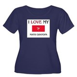 I Love My Manx Grandpa Women's Plus Size Scoop Nec