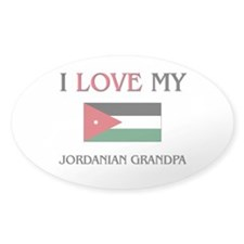 I Love My Jordanian Grandpa Oval Decal