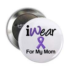 "Purple Ribbon Mom 2.25"" Button"