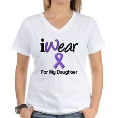 Purple Ribbon Daughter Women's V-Neck T-Shirt