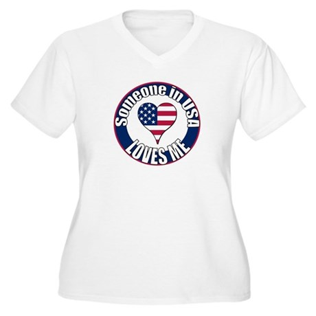 USA Love Women's Plus Size V-Neck T-Shirt