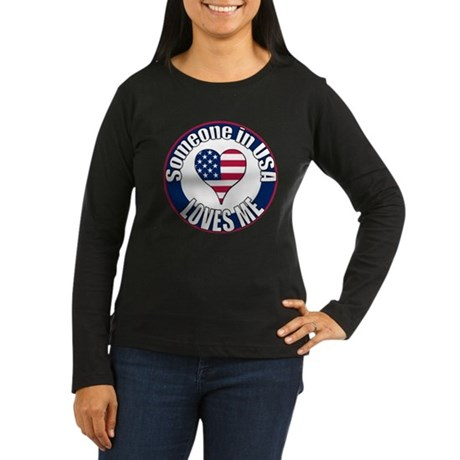 USA Love Women's Long Sleeve Dark T-Shirt