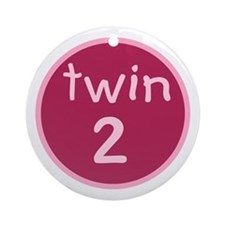 twin 2(girl) Keepsake Ornament (Round)