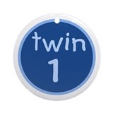 twin 1(boy) Keepsake Ornament (Round)