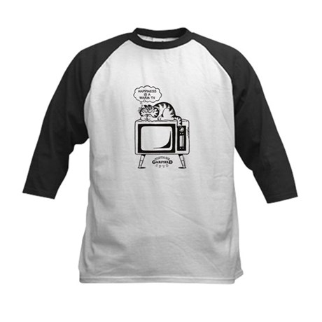 Garfield laying on TV Kids Baseball Jersey