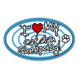 Hypno I Love My Catalan Sheepdog Oval Sticker Blue