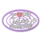 Hypno I Love My Catalan Sheepdog Oval Sticker Purp