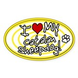 Hypno I Love My Catalan Sheepdog Oval Sticker Ylw