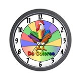 Rooster Tail De Colores Wall Clock