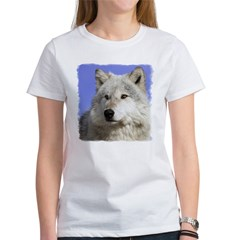 White Wolf on Blue Women's T-Shirt