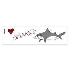 I Love Sharks Bumper Bumper Sticker