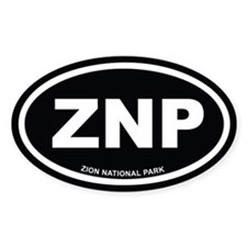 Black Zion National Park Euro Oval Decal