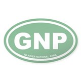 Green Glacier National Park Euro Oval Decal