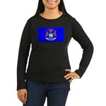 Michigan Blank Flag Women's Long Sleeve Dark T-Shi