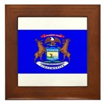 Michigan Blank Flag Framed Tile