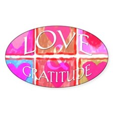 Hearts, Love & Gratitude <br>Oval Decal