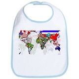 World Flags Map Bib