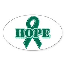 Green Hope Ribbon Oval Sticker (10 pk)