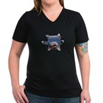 Yoga Kitty Cat Women's V-Neck Dark T-Shirt