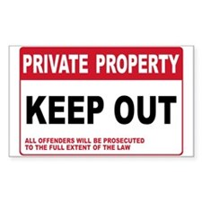KEEP OUT Rectangle Sticker 10 pk)