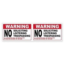 NO SOLICITING Bumper Bumper Sticker