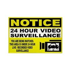 Security Camera Warning Rectangle Magnet