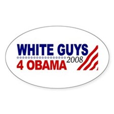 White Guys 4 Obama Oval Sticker (50 pk)