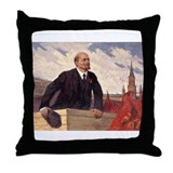 Lenin With Flags Design Throw Pillow
