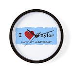 HAPPY 4OTH ANNIVERSARY TAYLOR Wall Clock