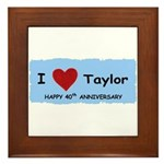 HAPPY 4OTH ANNIVERSARY TAYLOR Framed Tile