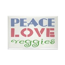 Peace Love Veggies Rectangle Magnet (10 pack)