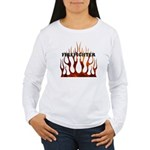 Firefighter Tribal Flames Women's Long Sleeve T-Sh