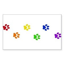 Rainbow paw prints Rectangle Decal