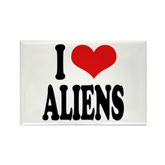I Love Aliens (word) Rectangle Magnet (10 pack)