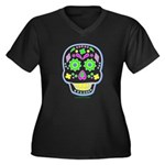 PSYCHEDELIC SKULL Women's Plus Size V-Neck Dark T-