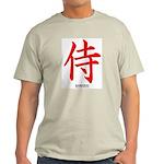 Japanese Samurai Kanji (Front) Ash Grey T-Shirt