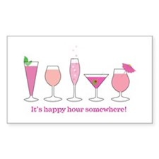 happy hour Rectangle Sticker