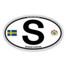 Sweden Euro-style Code Oval Sticker (10 pk)