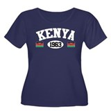 Kenya 1963 Women's Plus Size Scoop Neck Dark T-Shi
