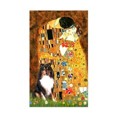 Kiss/Tri Color Sheltie Sticker (Rectangle 50 pk)