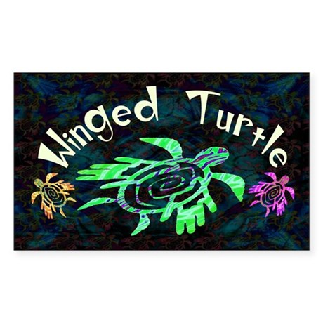 Winged Turtle Sticker (Rectangle)