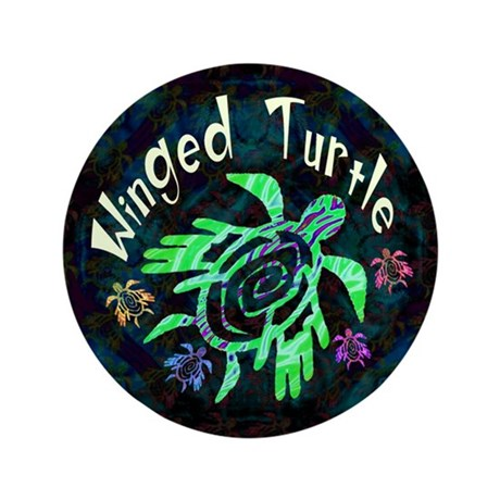 "Winged Turtle 3.5"" Button"