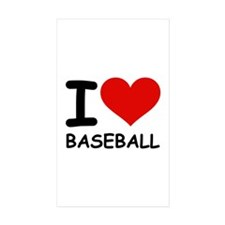 I LOVE BASEBALL Rectangle Sticker 10 pk)